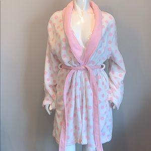 Ulta Pink & White Polka Dot Robe